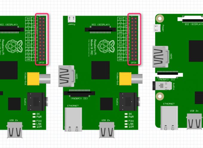 Raspberry Pi Bから、Raspberry Pi2, Pi3のGPIO PIN配列について