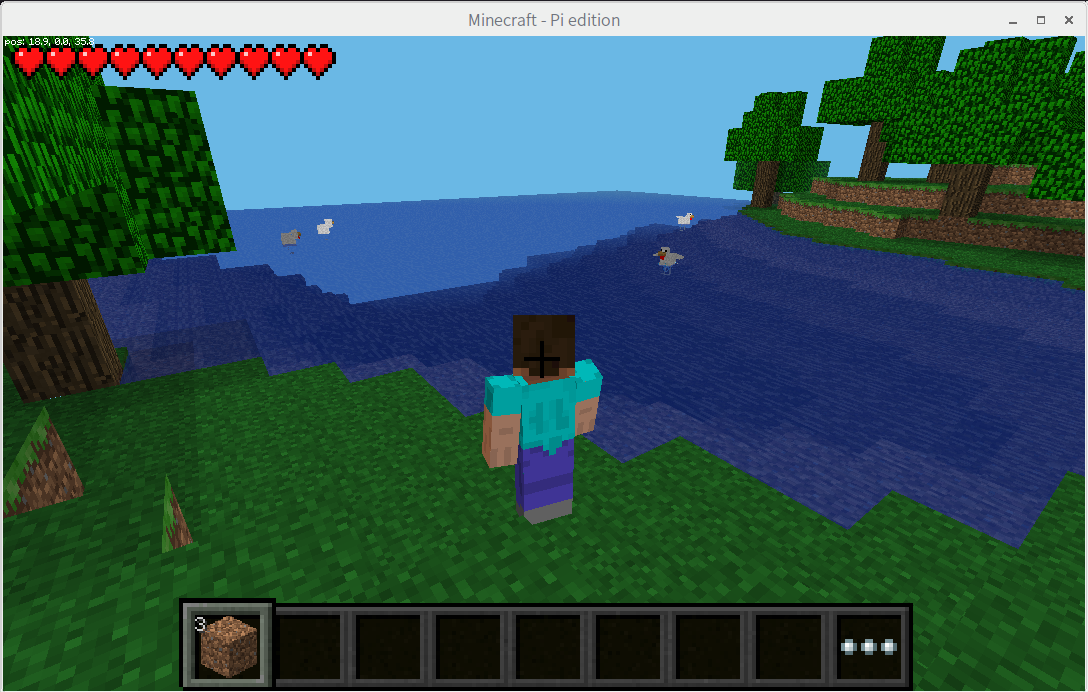 Minecraft Pi editionで牛、羊、ゾンビなどが出てくるサバイバルモードを楽しむ