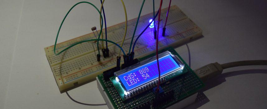 LCDとCdSセンサーを使用してLCDに明るさの数値を表示してみよう